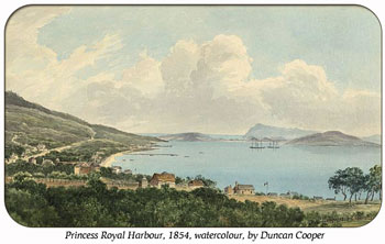 Princess Royal Harbour 1854. Painting by Duncan Cooper