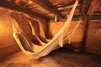 Hammocks swinging in the Ship, the Brig Amity